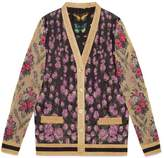 Gucci Patchwork shiny jacquard reversible cardigan