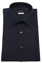 Valentino Men's Slim Fit Cotton Dress Shirt Pinstripe-navy-grey.
