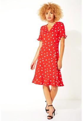 M&Co Roman Originals floral side button tea dress
