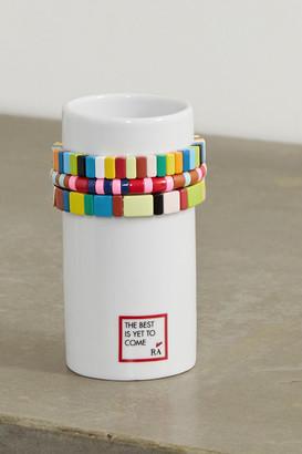 Roxanne Assoulin Stack 'em Up Porcelain Vase And Set Of Three Enamel And Gold-tone Bracelets - White
