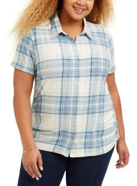 Planet Gold Trendy Plus Size Ruched Plaid Shirt
