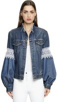 Forte Couture Cotton Denim Jacket W/ Lace Inserts