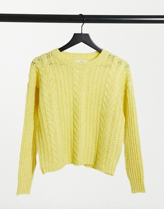 JDY cable knit sweater in lime