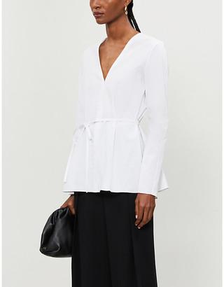 Theory Tie-waist stretch-cotton poplin shirt