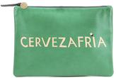Clare Vivier Women's Flat Clutch Bag Emerald Nappa With Blush Cervezafria