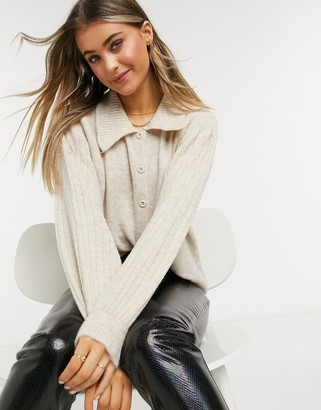 ASOS DESIGN chunky cardigan with collar detail and buttons in oatmeal