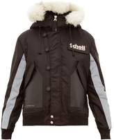 Schott - Leather Panelled Hooded Parka - Mens - Black