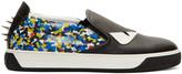 Fendi Black & Blue Monster Slip-On Sneakers