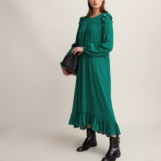La Redoute Collections Leopard Print Throw-On Midi Dress with Ruffled Long Sleeves