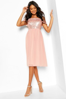 boohoo Bridesmaid Occasion Sequin Bardot Midi Dress