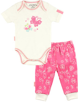Kushies Pink Butterfly Organic Cotton Bodysuit & Floral Pants - Infant