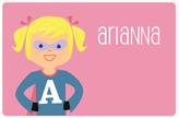 Blonde Pigtail Superhero Personalized Place Mat