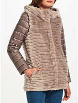 Marella Willy Faux Fur Quilted Coat, Light Grey