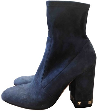 Valentino Rockstud Blue Suede Ankle boots