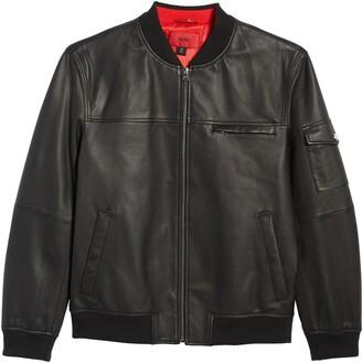 HUGO BOSS Livius Leather Bomber Jacket