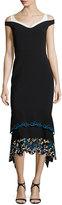 Peter Pilotto Cold-Shoulder Embroidered Midi Dress, Black