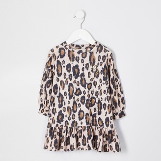 River Island Mini girls Beige leopard dress