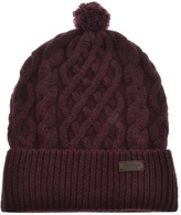Barbour Cable Knit Beanie Hat Purple