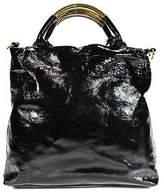 Badgley Mischka Black Patent Leather Pleated Front Gold Tone Shoulder Handbag