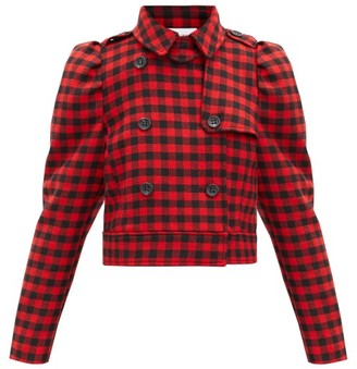 RED Valentino Cropped Double-breasted Houndstooth Jacket - Black Red