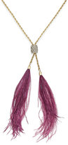 INC International Concepts Gold-Tone Double Feather and Pavé Lariat Necklace, Only at Macy's