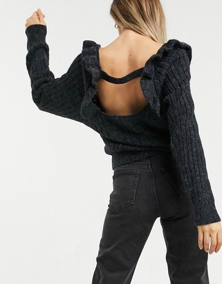 Topshop open back ruffle detail jumper in charcoal grey