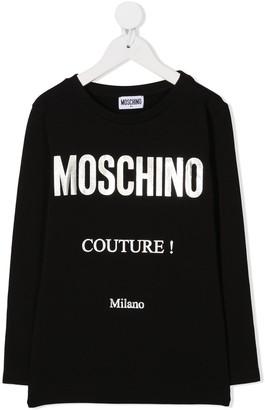 MOSCHINO BAMBINO metallic logo T-shirt