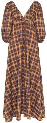STAUD plaid V-neck maxi dress