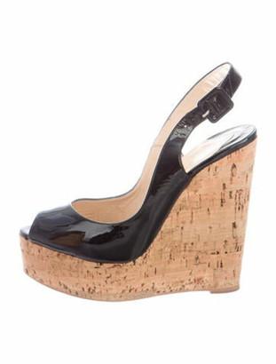 Christian Louboutin Une Plume Sling 140 Patent Leather Slingback Sandals Black