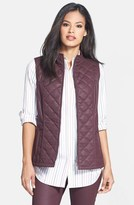 Lafayette 148 New York Quilted Waxed Denim Vest