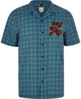 River Island Mens Blue tile print floral embroidered shirt