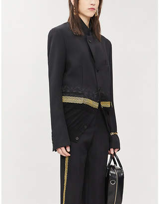 Haider Ackermann Geometric-embroidery knitted-trim wool blazer