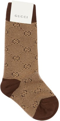Gucci Logo Intarsia Wool Blend Knit Socks