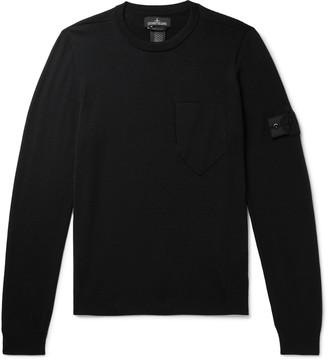 Stone Island Shadow Project Logo-Appliqued Wool And Silk-Blend Sweater