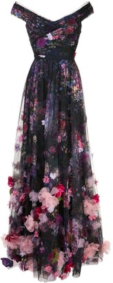 Marchesa Floral-Print Floor-Length Gown