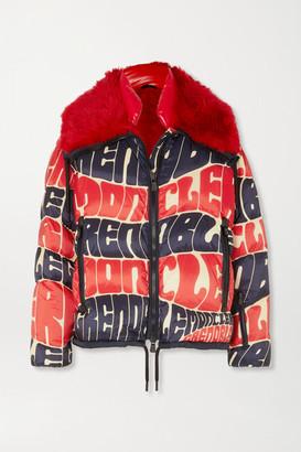 Moncler Plaret Faux Fur-trimmed Printed Down Ski Jacket - White