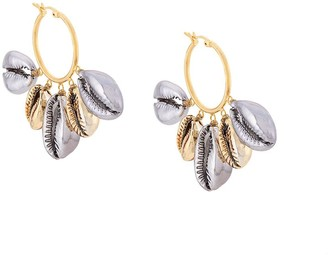 Venessa Arizaga mixed metallic shell earrings
