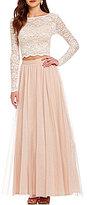 Jump Illusion Long Sleeve High Neck Lace Top Glitter Mesh Skirt Two-Piece Long Dress