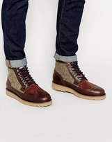 Fred Perry Northgate Leather And Harris Tweed Brogue Boots - Brown