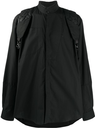 Jordan Luca Quilted-Strap Band-Collar Shirt