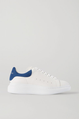 Alexander McQueen Two-tone Suede-trimmed Leather Exaggerated-sole Sneakers - White