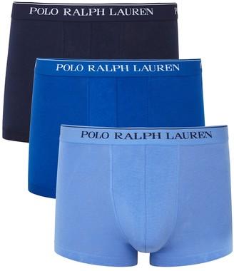 Polo Ralph Lauren Blue Stretch-cotton Boxer Trunks - Set Of Three