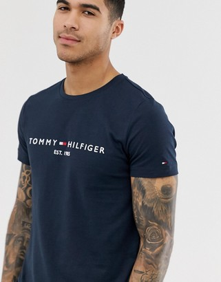 Tommy Hilfiger embroidered flag logo t-shirt in navy