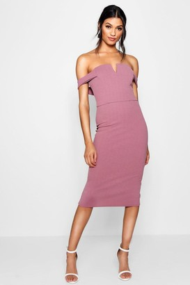 boohoo Bardot Midi Bodycon Dress