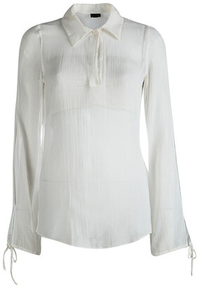 Fendi White Cotton Long Sleeve Tie Detail Sheer Blouse M