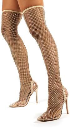 Public Desire Uk Deal Breaker Diamante Fishnet Stiletto Over the Knee High Heels
