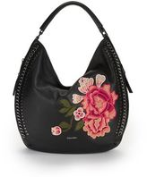 Calvin Klein Embroidered Floral Leather Hobo