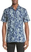 The Kooples Men's Denim Flowers Trim Fit Cotton Sport Shirt