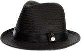 Melissa Odabash Eva Black Trilby Straw Hat