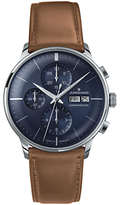 Junghans 027/4526.01 Meister Chronoscope Chronograph Leather Strap Watch, Tan/navy